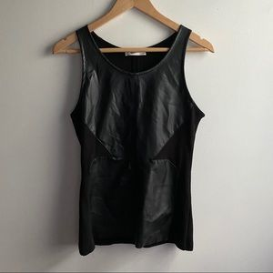 Zara black faux leather panel fitted tank top